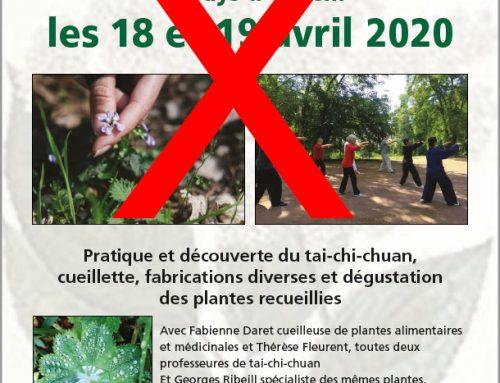 ANNULATION DU STAGE TAI CHI CHUAN PLANTES EN PAYS D'OTHE !